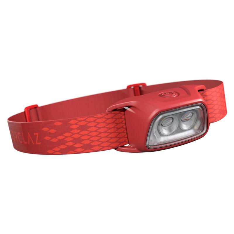 Linterna Frontal de Montaña, Forclaz, Trek 100,Recargable USB, 120 Lúmenes, Rojo