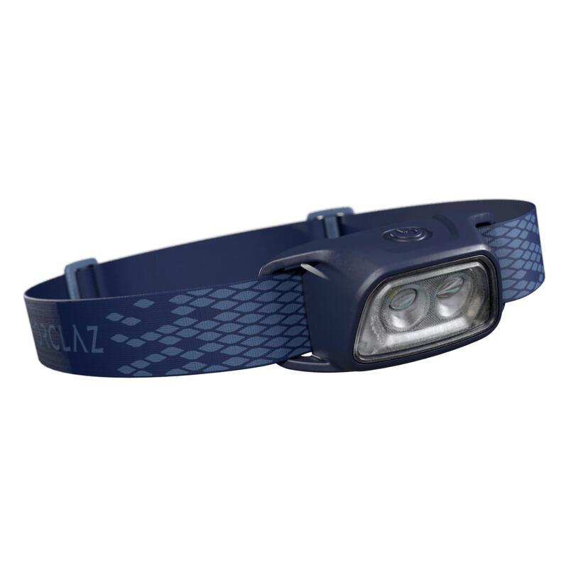 Linterna Frontal de Montaña, Forclaz, Trek 100,Recargable USB, 120 Lúmenes, Azul