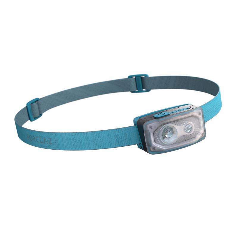 Linterna Frontal de Montaña, Forclaz V500, Recargable USB, 100 Lúmenes, Azul