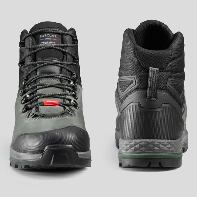Men's Wide Leather Trekking Boots - TREK100 LEATHER WIDE Khaki