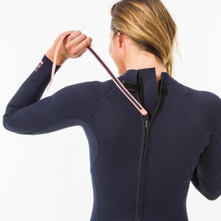 SURF 100 Neoprene wetsuit 2/2 mm women's Marine blue back zip