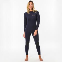 女款2/2 mm氯丁橡膠(neoprene)衝浪防寒衣SURF 100(背側拉鍊設計)-軍藍色