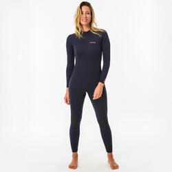 Wetsuit dames 100 2/2 mm marineblauw back zip