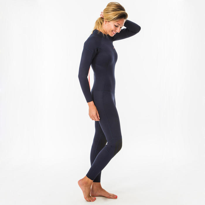 Wetsuit voor surfen dames 100 fullsuit neopreen 2/2 mm rugrits marineblauw
