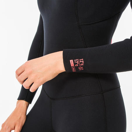 Women's 4/3 mm Neoprene SURF 100 Wetsuit with Back Zipper Black