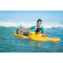 tee shirt anti uv surf top 500 manches courtes femme turquoise et blanc