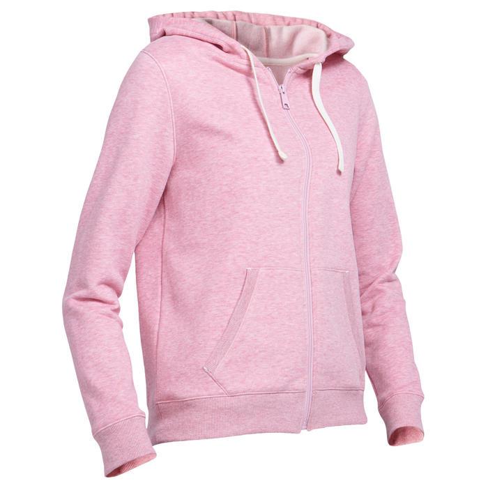 Hoodie met rits voor work-out dames 500 roze
