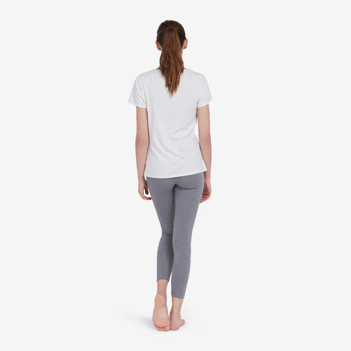 Women's 7/8 Sports Leggings 500 - Grey Marl