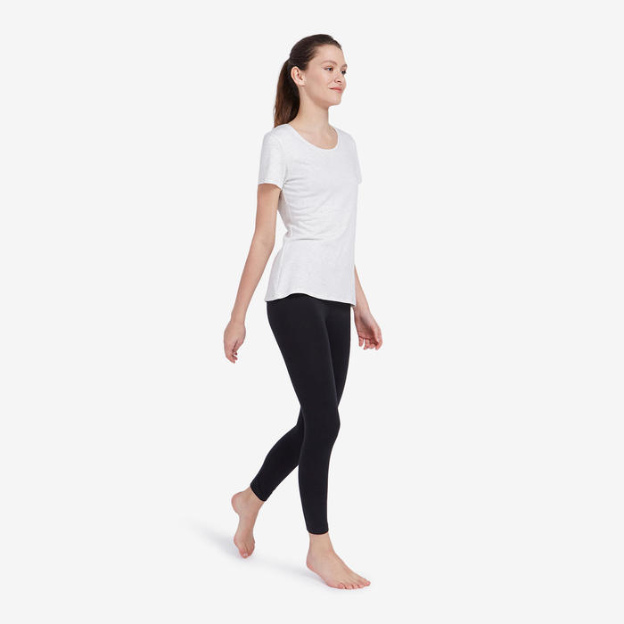 Sportbroek voor pilates en lichte gym dames Fit+500 slim fit 7/8 zwart