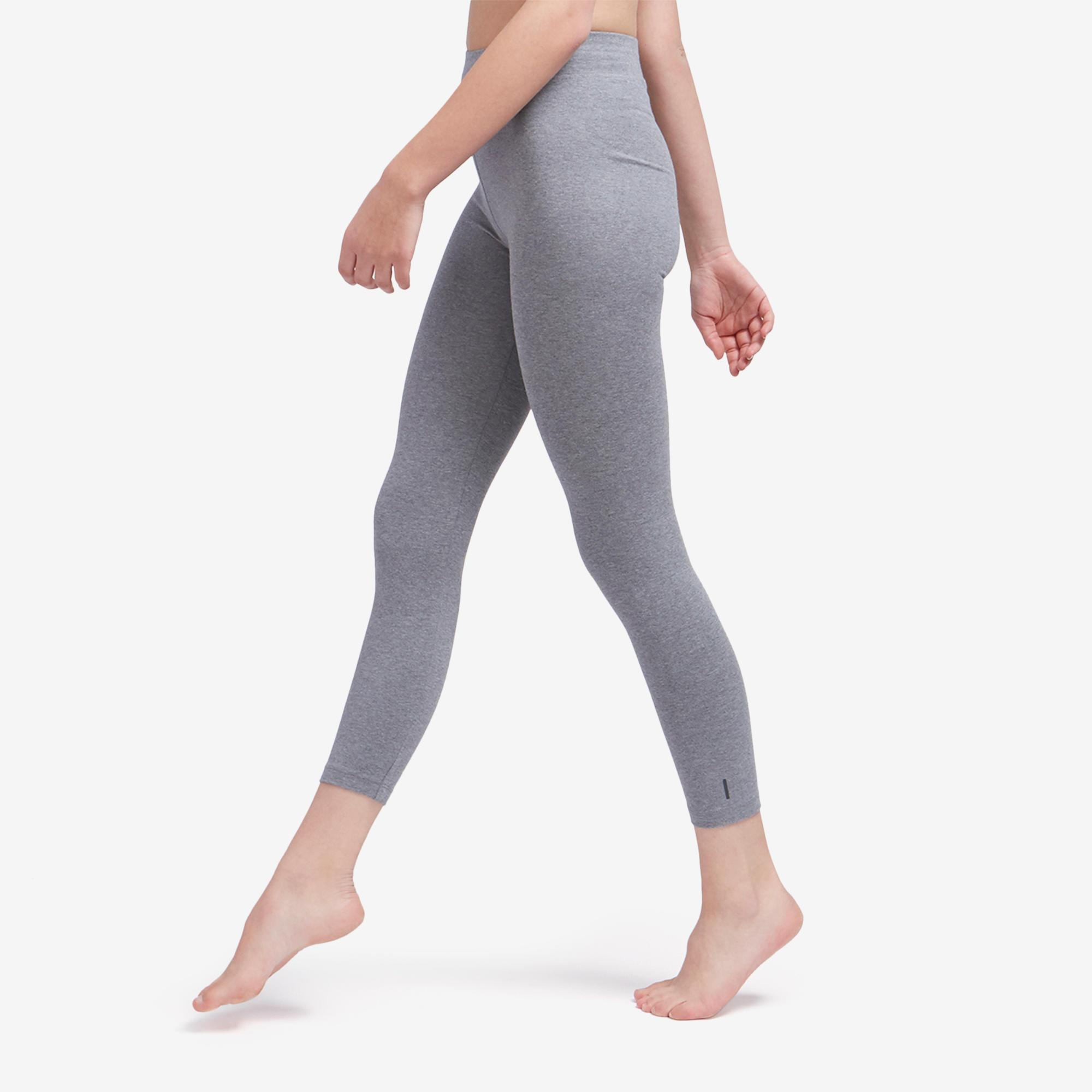 Legging court de sport taille haute fit500 femme 78 en coton gris domyos