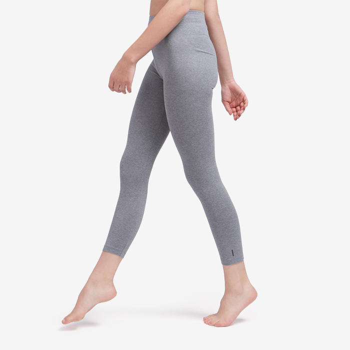Women's Slim-Fit Pilates & Gentle Gym Sport 7/8 Leggings Fit+500 - Mottled Grey