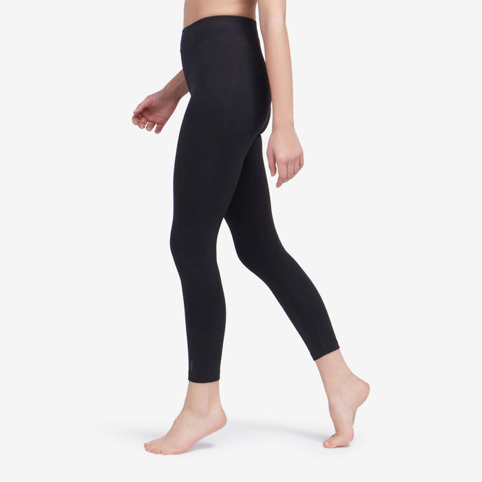 Women's Slim-Fit Pilates & Gentle Gym Sport 7/8 Leggings Fit+500 - Black
