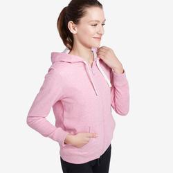 Veste à capuche zippée femme 500 rose