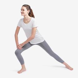 Legging 7/8 Sport Pilates Gym Douce Femme Fit+500 Slim Gris Chiné