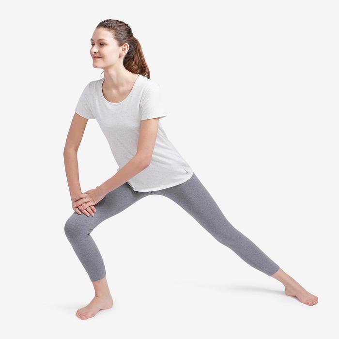 Legging voor pilates en lichte gym dames Fit+500 slim fit 7/8 gemêleerd grijs