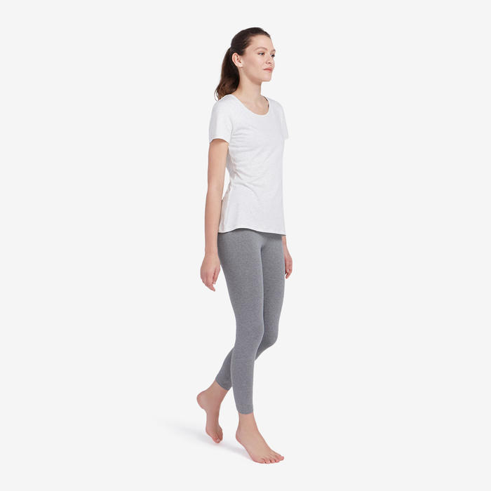 Leggings 7/8 Sport Pilates y Gimnasia suave mujer Fit+500 Slim Gris jaspeado