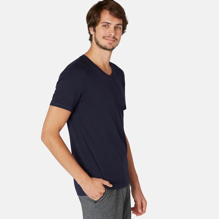 T-Shirt Sport Pilates Gym Douce homme 500 Slim Col V Bleu