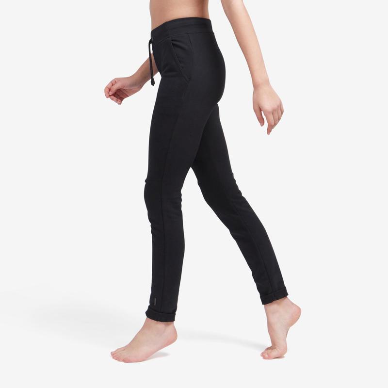 Pantalon de trening slim 500 Fitness negru damă