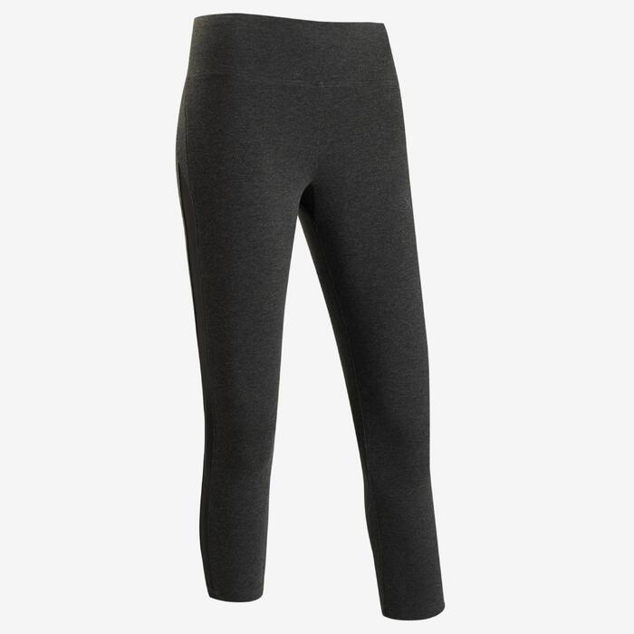Legging court de sport taille haute 520 femme 7/8 en coton gris foncé