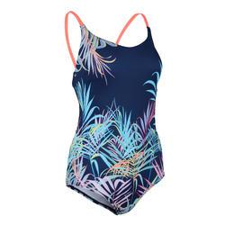 女款連身低剪裁泳裝Riana 藍色