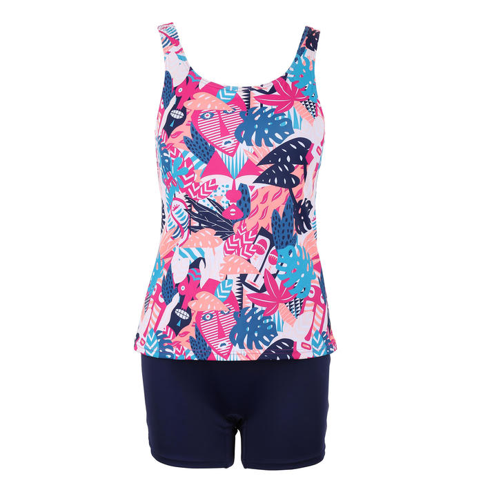 Women's Swimming One-Piece Tankini Swimsuit Heva - All Mask Pink