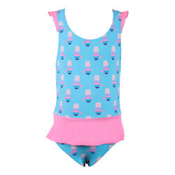 Baby Girl's One-Piece Swimsuit Blue Miniskirt Pink Print