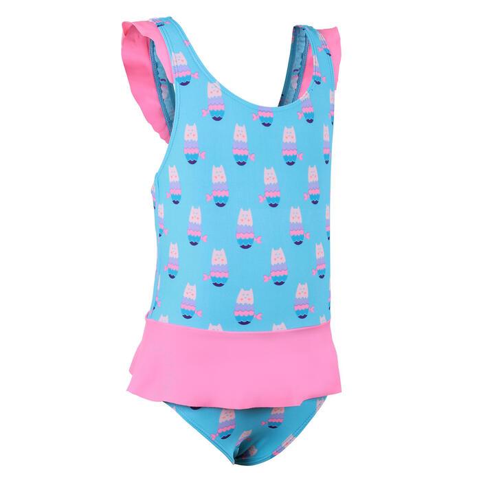 女嬰款連身泳裝藍色迷你裙粉紅色印花