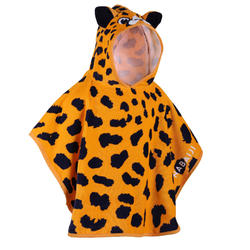 Baby Poncho with Hood Yellow and Black CHEETAH print