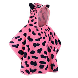 Baby Poncho with Hood Pink and Black CHEETAH print