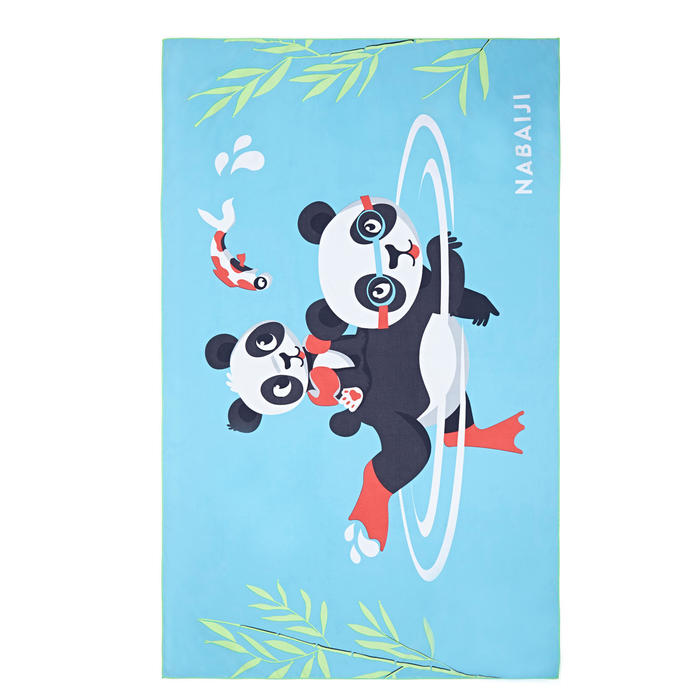 輕巧微纖維毛巾L號80 x 130 cm-熊貓印花