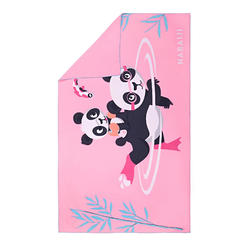 輕便微纖維毛巾L號80 x 130 cm 粉紅色熊貓印花