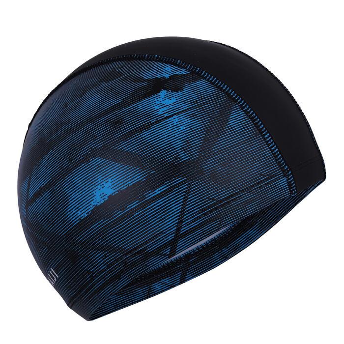 SWIMMING CAP SILICONE MESH PRINT SIZE L - TEXXO BLK