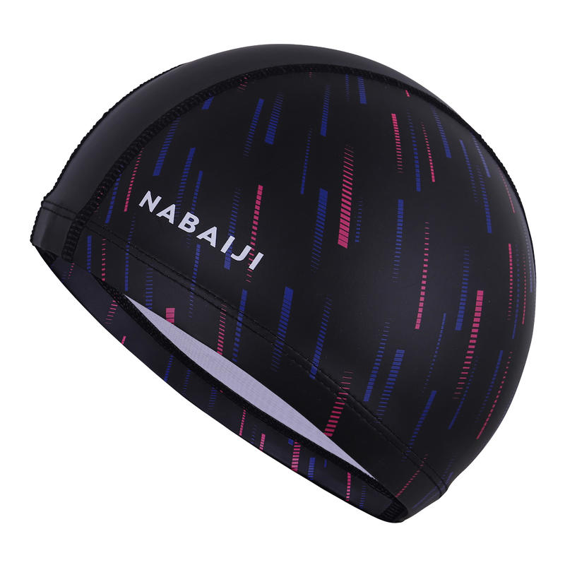 หมวกว่ายน้ำผ้าตาข่ายซิลิโคนขนาด L (สีชมพูพิมพ์ลาย SPID)