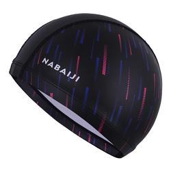 矽膠網眼泳帽L號-印花粉紅色圖案