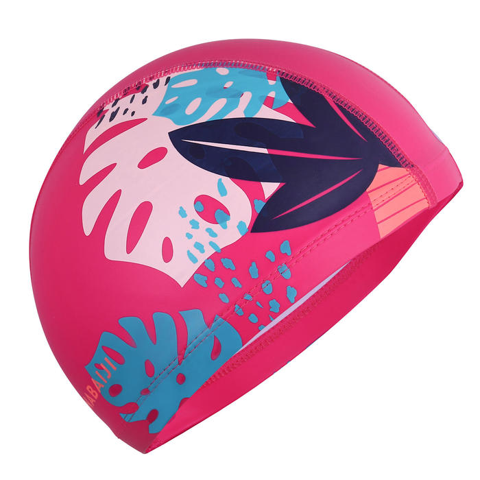 SILICONE MESH SWIM CAP SIZE S PRINT - LEAVES PINK