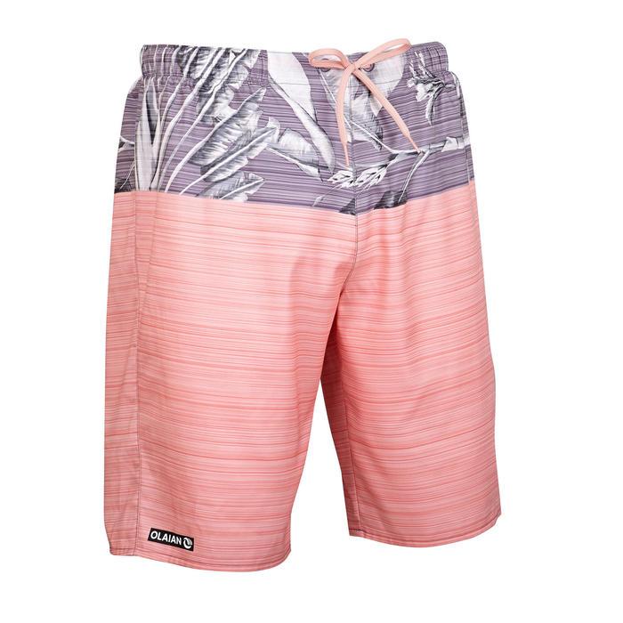 標準衝浪褲100-DIOS粉紅色/灰色