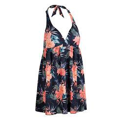 女款連身繞頸綁帶式泳衣SUE-葉片款