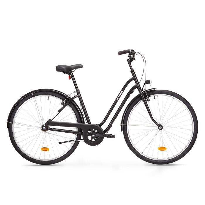 Bicicleta Urbana Elops 100 Cuadro Bajo Negro Btwin Decathlon