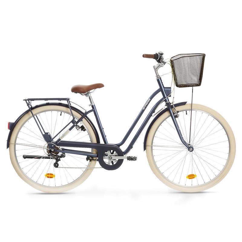 Bici città ELOPS 520 telaio basso azzurra