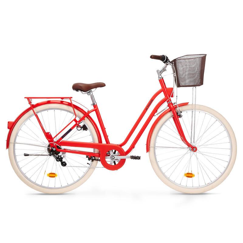 Stadsfiets dames Elops 520 laag frame rood