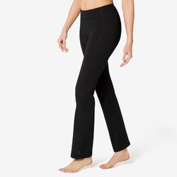 女款標準剪裁皮拉提斯與溫和健身運動長褲Fit+500 - 黑色