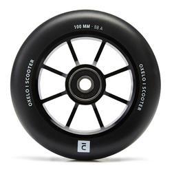 Wiel 100 mm met zwarte aluminium core en zwart PU85A-rubber