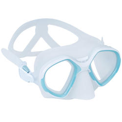 Freediving double-lens mask FRD 500 - mist grey, reduced volume