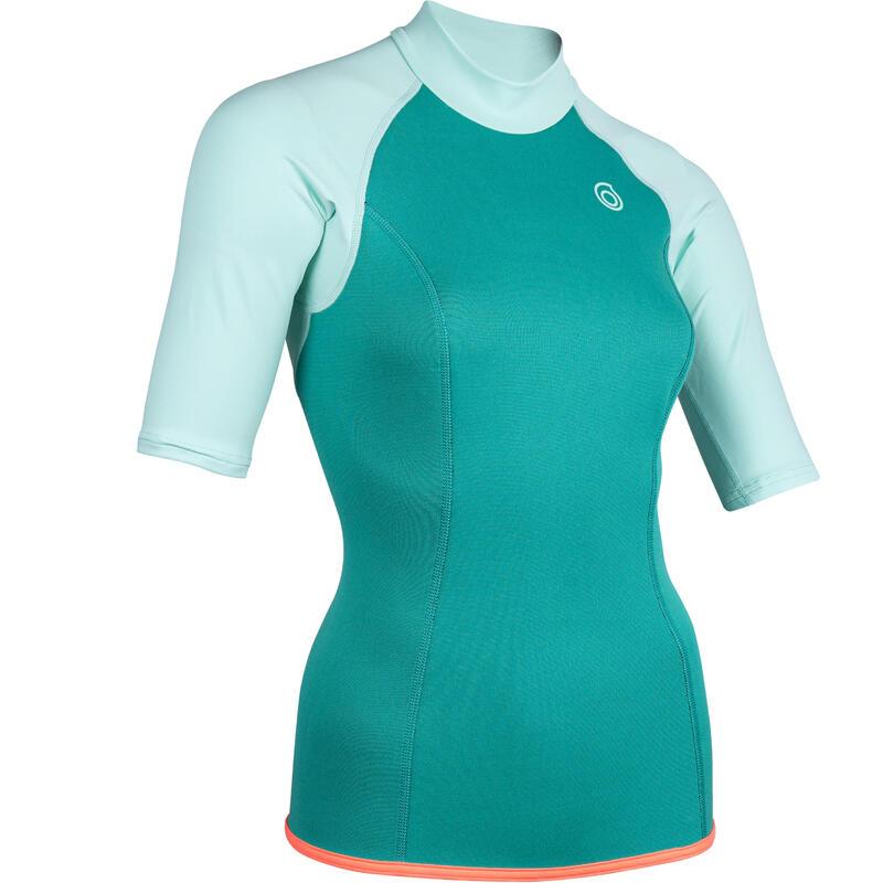 Women's short-sleeve neoprene thermal top 100 - turquoise