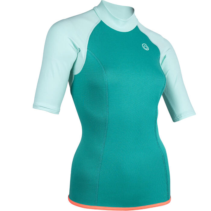 Women's Short Sleeve Neoprene Thermal Top 100 Turquoise