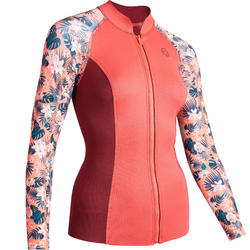 Thermische top in neopreen 500 lange mouwen dames roze