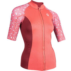 Thermische top in neopreen 500 korte mouwen dames roze