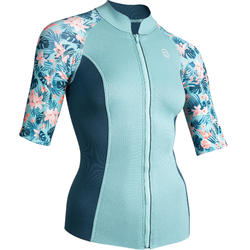 Thermische top in neopreen 500 korte mouwen dames turquoise