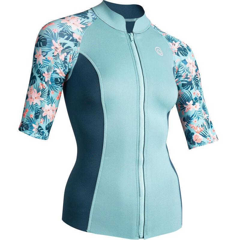 Women's short-sleeve neoprene top 500 - turquoise