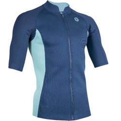 Thermische top in neopreen 500 korte mouwen heren navy turquoise